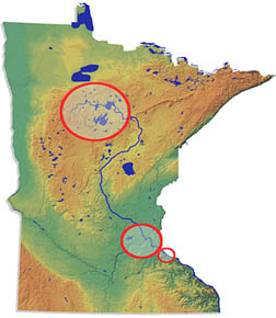 Project Areas on Minnesota Map